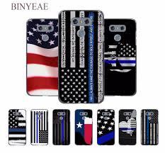 Black And Blue Flag Binyeae Thin Blue Line American Us Flag Design Hard Black Case For