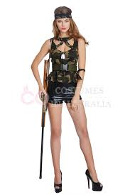 Fbi Halloween Costume Ladies Army Military Uniform Gun Flight Soldier Costume