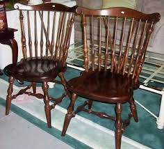 Oak Spindle Back Dining Chairs Pair Vintage Ethan Allen Spindle Back Solid Wood Dining