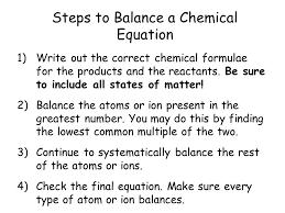 steps to balance a chemical equation
