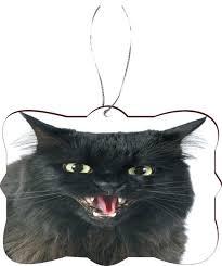 furious black cat angry cat masonite flat tree ornament