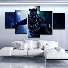 online get cheap panther posters aliexpress com alibaba group wall art frame canvas pictures modern hd printed home decor 5 panel black panther movie living room paintings posters pengda