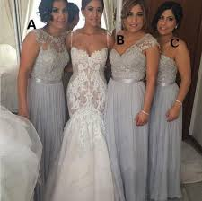 light gray bridesmaid dresses 2016 new arrival illusion neck lace top long chiffon grey bridesmaid