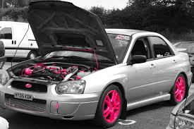 subaru pink the pink panther racedynamix performance tuning