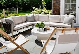 Deck Coffee Table - outdoor sectional with folding chairs and white pedestal coffee