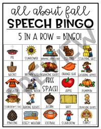 all about fall thanksgiving speech bingo by the social speechie