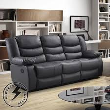 3 Recliner Sofa Belfast Slate Grey Premium Bonded Leather Power Recliner Sofa