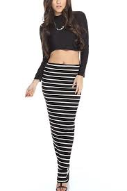 two dress set black sleeve stripe maxi skirt two dress set