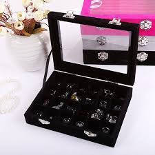 necklace holder case images Earring ring display tray organizer holder glass velvet storage jpg