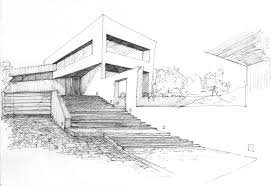modern house architecture sketch colored architectural sketch of a