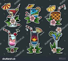 vector set cocktail glasses traditional tattoo stock vector