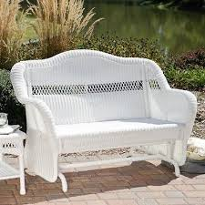 white wicker glider loveseat casco furniture patio bench chair