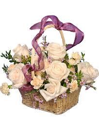 basket arrangements garden basket ivory roses arrangement basket arrangements