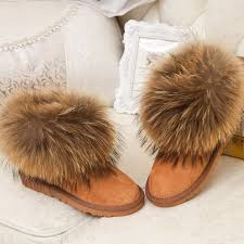 s boots with fur s winter fox fur boots cowhide