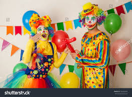 two cheerful clowns birthday children bright stock photo two cheerful clowns birthday children bright stock photo 742263646