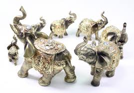 feng shui set of 7 bronze elephant family statues figurines gift