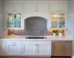 Grey Subway Tile Backsplash White Modern Kitchen With Marble - Gray subway tile backsplash