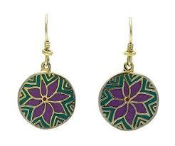laurel burch earrings laurel burch flower moon earrings teal purple