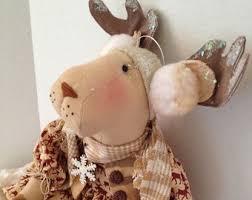 Christmas Moose Home Decor Primitive Dolls Etsy