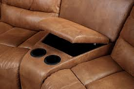 manchester caramel leather sectional 2 recliners cup holders
