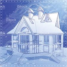 house blueprint 3d technical concept draw stock vector art