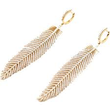 gold feather earrings 18k gold and diamond feather earrings jeri cohen jewelry