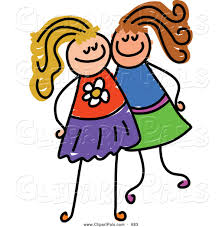 pal clipart of a childs sketch of two grinning girls posing