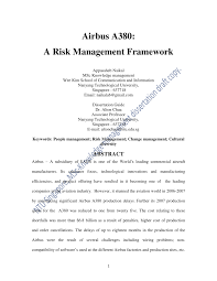 airbus si e social airbus a380 a risk management framework pdf available