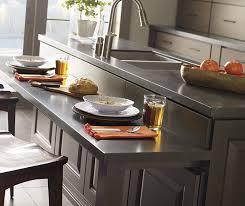 Gray Kitchen Island With Cherry Cabinets Decora - Kitchen with cherry cabinets