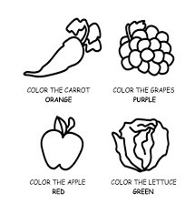 healthy food fruit and vegetables coloring page for kids kids