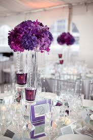 Trumpet Vase Wedding Centerpieces by Reception Centerpieces Purple Hydrangea With Crystal Strands On