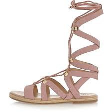 river island womens boots sale river island pink lace up gladiator sandals in pink lyst