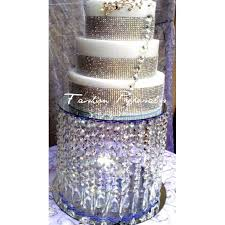 rhinestone cake stand wedding acrylic cake stand with crystals chandelier