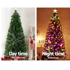 Christmas Tree With Optical Fiber Lights - led christmas tree 210cm frost berries lights large star optic