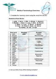 printable medical terminology worksheets free worksheets library