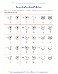 free worksheets for comparing or ordering fractions teaching