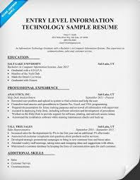 Entry Level It Resume It Resume Examples Resume Examples It Resume Wording Examples