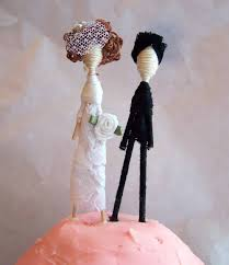 groom wedding cake topper yarn