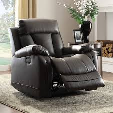 Faux Leather Recliner Shop Homelegance Ackerman Black Faux Leather Recliner At Lowes Com