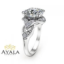 cushion cut diamond ring 14k white gold engagement ring unique