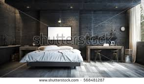 loft style bed loft style bedroom interior design mock stock photo 568481287