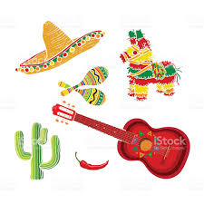 mexican set sombrero pinata maraca cactus chili and spanish guitar