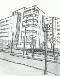 drawn building simple pencil and in color drawn building simple