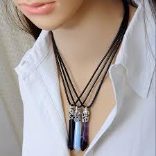 aliexpress pendant necklace images Docona natural quartz pendant stone hexagonal pendant necklace jpg