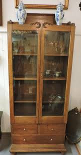 Oak Bookcases With Drawers Found In Ithaca Antique Oak Glass Door Bookcase With 3 Drawers