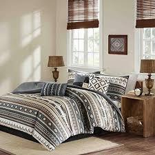 Southwestern Comforters Tan Black Brown Grey Southwest Comforter Queen Set Native American