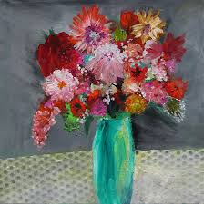 fls painting flowers in a green vase by marilyn woods