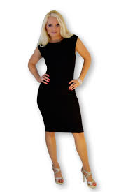 ladies fitted modern black stretch lycra body contouring formal