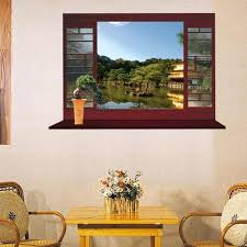 Chinese Garden Design Decorating Ideas Creative Home Decor 3d Fake Window Wall Sticker Chinese Style