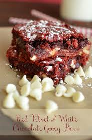 red velvet and white chocolate chip gooey bars little dairy on